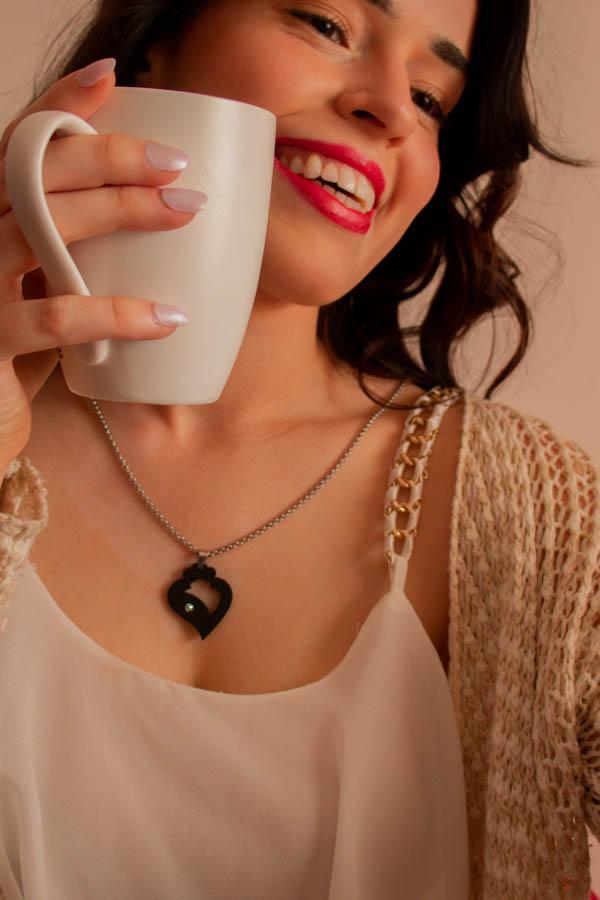 Bekoffee Colar Coração de Viana Cristal Swarovski