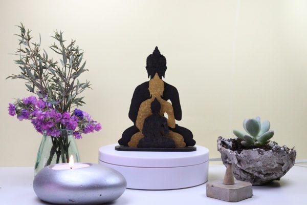 Escultura Os Três Budas Linho
