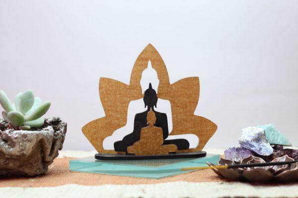 Escultura dois budas na flor de lótus Bekoffee